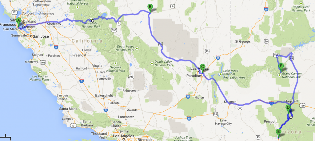 Long road trip June 2014 - 2,900 miles total